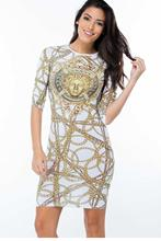 Stylish Trendy Long Sleeve Dresses Gold Chain/Brush Aside/Rosy/Yellow Fireworks Fly Neon Brushstroke Print Dress LC22433