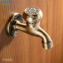 INFOS Antique Brass Bronze Bathroom Wall Mount Water Faucet Decorative Outdoor Faucets Tap Bibcock Laundry torneira IFG602
