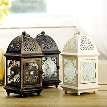 Morocco Wrought Iron Glass Lantern Tea Light Candle Holder Home Wedding Garden Decor(China)