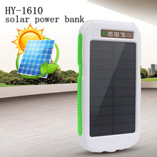 Waterproof with flashlight HY-1610 digital display three anti-mobile power bank Solar Powerbank 20000mah solar power bank