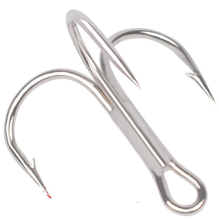 100pcs Fishing Treble Hooks Stainless Steel Sharpened Treble Fish hooks  1//0-14#