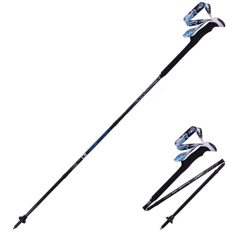 PIOMEER Outdoor Carbon Fiber Folding Camping Climbing Skiing Trekking Hiking Stick Alpenstock Short Pole 5 Size<br>