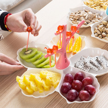 Creative Snack Dish Five lattice Family Fruit Dessert Nuts Plate Home Party Servicing Tray Pick Fork Bird Christmas Candy Tree(China)