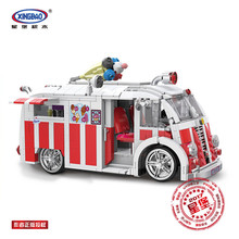 In Stock 1000Pcs XingBao 08004 Creative MOC Technic Series Ice Cream Car Set Education Building Blocks Model Bricks Toys Gifts