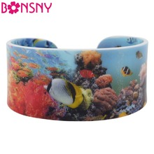 Bonsny Acrylic Marine Fish Pattern Wide Love Bracelets Bangles For Women 2017 News Ocean Collection Jewelry Accessories Gifts(China)