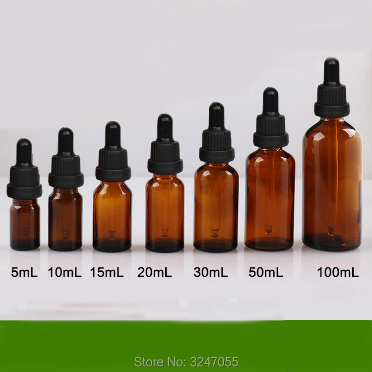5ml10ml15ml20ml30ml50ml100ml Cosmetic Liquid Glass Dropper Bottle, Amber Vial Essnetial Oil Container, Essence Refillable Bottle<br>