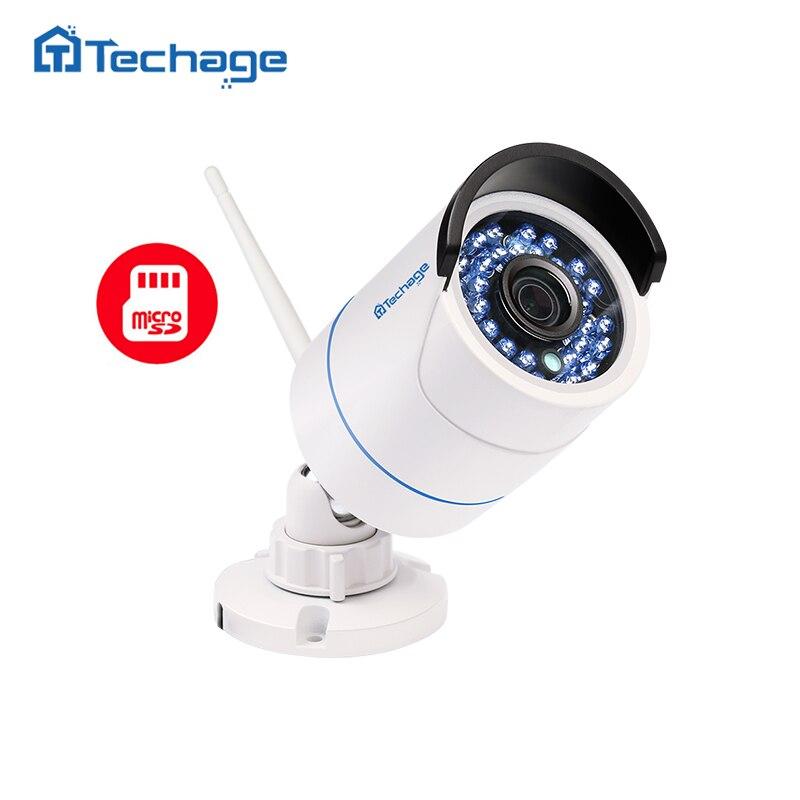 Techage 1080P WIFI IP Camera Waterproof HD Network 2MP Wireless Camera Indoor Outdoor P2P Onvif SD TF Card Cam W/ Power Adapter<br>