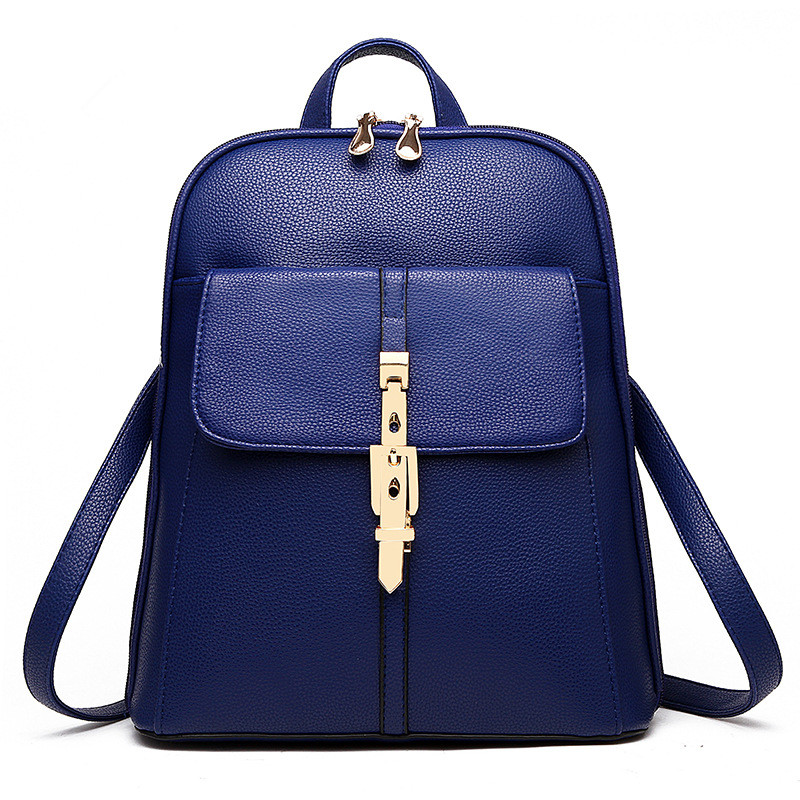 Elegant PU Royal Blue Pratical Schoolbag Casual Traveling Women Backpacks Bag Buckle Zipper<br>