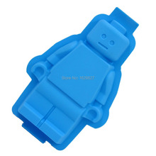 1PC Super Big 100% foodgrade lego shaped silicone cake mold,robot silicone cake mold Color Light Blue