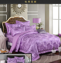 Peony satin silk 4pcs bedding set luxury European ruffles silk bed clothes embroidered silk/cotton A/B sides bed set 5519(China)