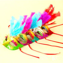 2018 Colorful Feather Mask Venetian Peacock Mask Eye Masks Women Girls Dance Party Dress Decoration Christmas New Year(China)