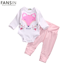 Fansin Brand Baby Boys Girls Clothes Casual Clothing Sets Fox Romper Tops+Leggings Pants 2Pcs Children Outfit Kid Clothes Set(China)