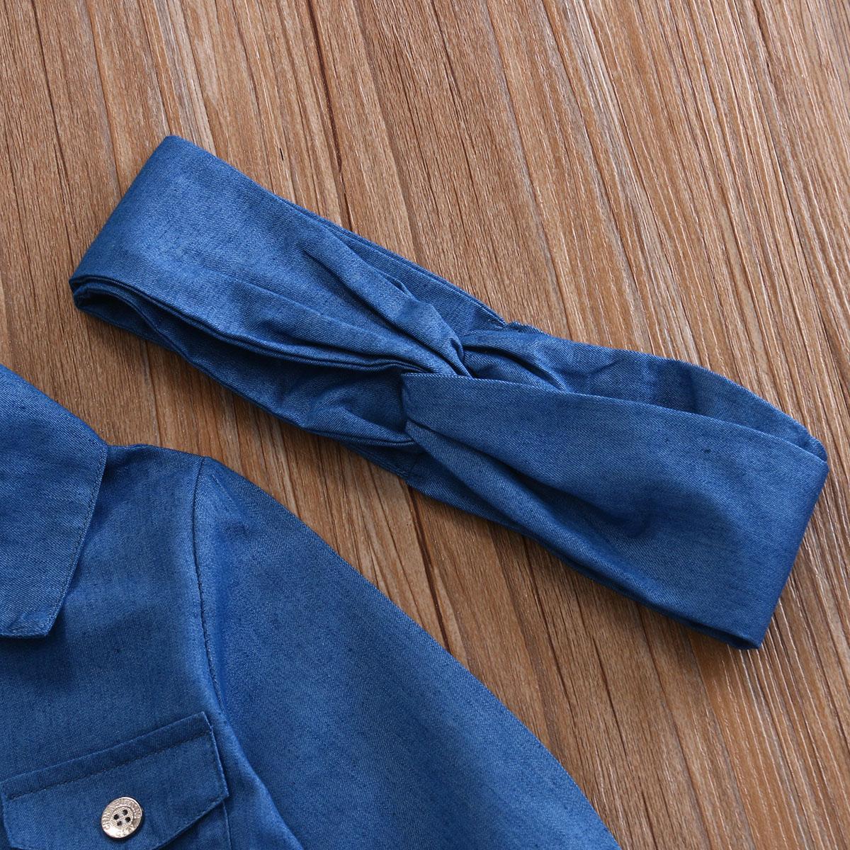 0-5a enfant nouveau enfants bébé filles infantile à manches longues denim tops shirt + tutu jupes dress + bandeau 3 pcs jeans tenues vêtements set 11