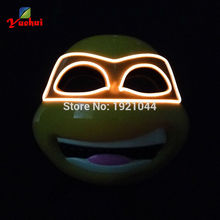 2017 New Hot Sale Promotion Guy Flash EL Wire Led Glowing Dj Cosplay Teenage Mutant Ninja Turtles Party Mask Powered by DC-3V