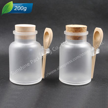 12 X 200G ABS Round Bath Salt Bottle 200ml Powder Plastic Bottle with Cork Jar with Wood Spoon,Packaging Bottle(China)