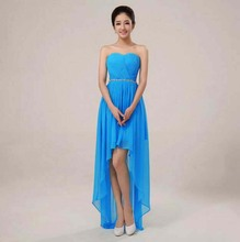 formal sexy special occasion blue prom dresses fancy sweetheart beaded pleats chiffon short front long back high low dress H1093