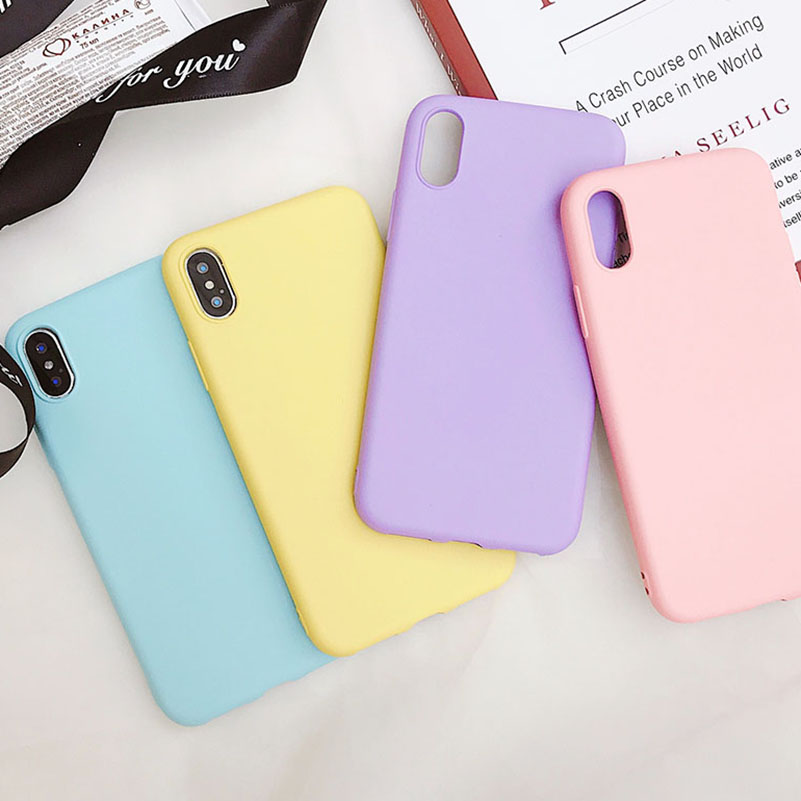 Candy Color Matte Phone Case For iPhone 7 Plus 6 6s 8 5 5s SE For iPhone XS MAX X XR Simple Solid Soft TPU Cases Back Cover(China)