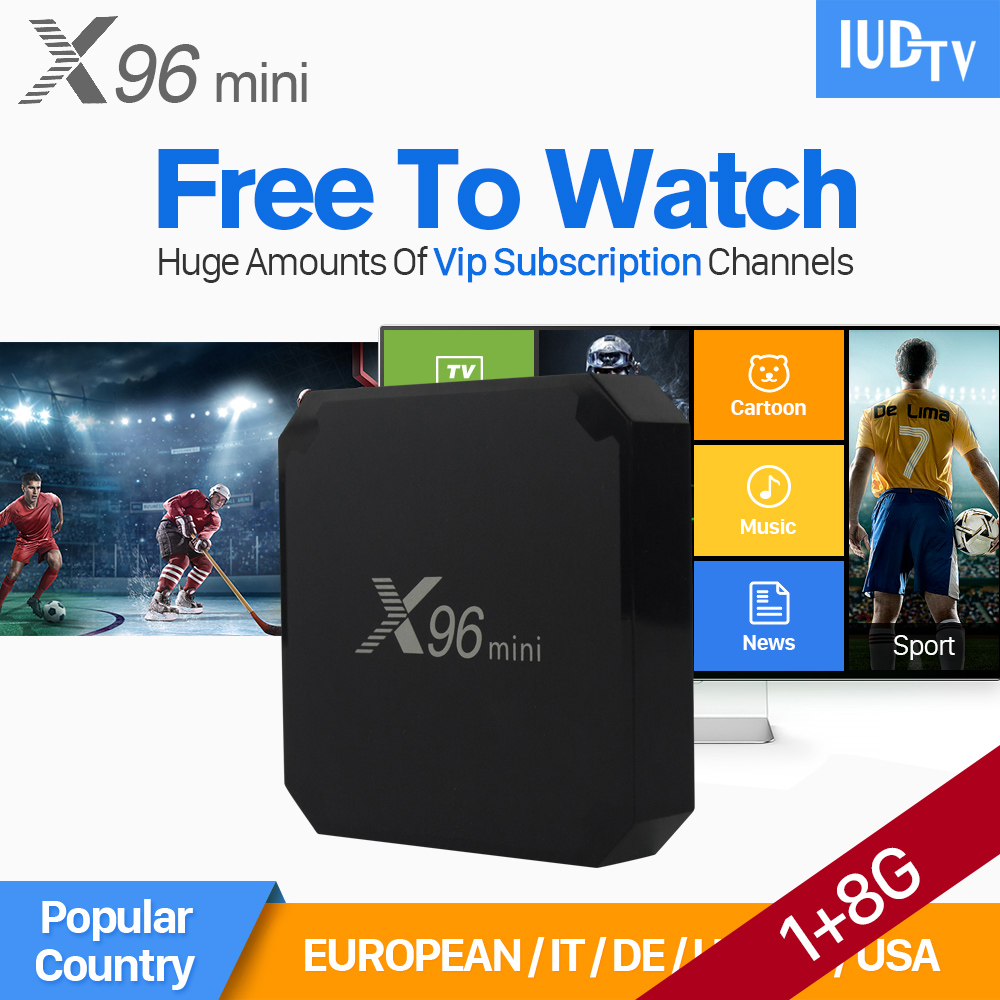 X96 mini IPTV Box Amlogic S905W Android Tv Box IUDTV 1 year Subscription 2000+ IPTV Europe French Sweden Arabic Turkey Channels