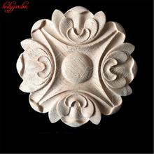 7CM Wood Carved Appliques Carved Wooden Bed Door Retro Round Woodcarving Decal Unpainted Furniture Cabinet Wall Decor Crafts(China)