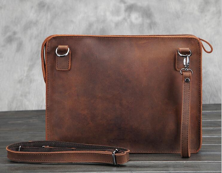 Genuine Leather bag Men Bags Crazy Horse Leather Messenger Bag Brown Casual Real Leather Clutch Crossbody Ipad Bags #MD-L072<br>