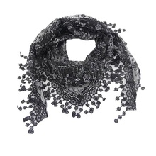Lace Tassel Sheer Burntout Floral Print Triangle Mantilla Scarf Shawl Neck Wrap Lace Hollow Out Hook Floral Long Scarf(China)
