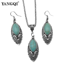 Buy 3pcs/sets Mujer Statement Kolye Leaves Calaite Stone Necklace & Pendant Vintage Silver Tone Earrings Calaite Jewelry Sets for $1.75 in AliExpress store