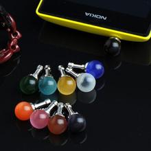 DHL Free Luxury Colorful Opal Ball Jack Anti Dust Plug Anti-Dust Earphone Plug for iPhone 6 6s Samsung galaxy s5 s6 3.5MM gift