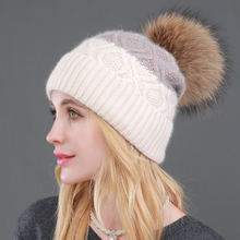 [Sole Crowd] Patchwork knitted rabbit fur hats women winter warm beanies real natural raccoon fur pompom cap fashion female hat(China)