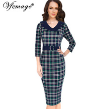 Vfemage Womens 1950s Vintage Pinup Retro Rockabilly 3/4 Sleeve Buttons Check Plaid Work Party Bodycon Wiggle Pencil Dress 10105(China)