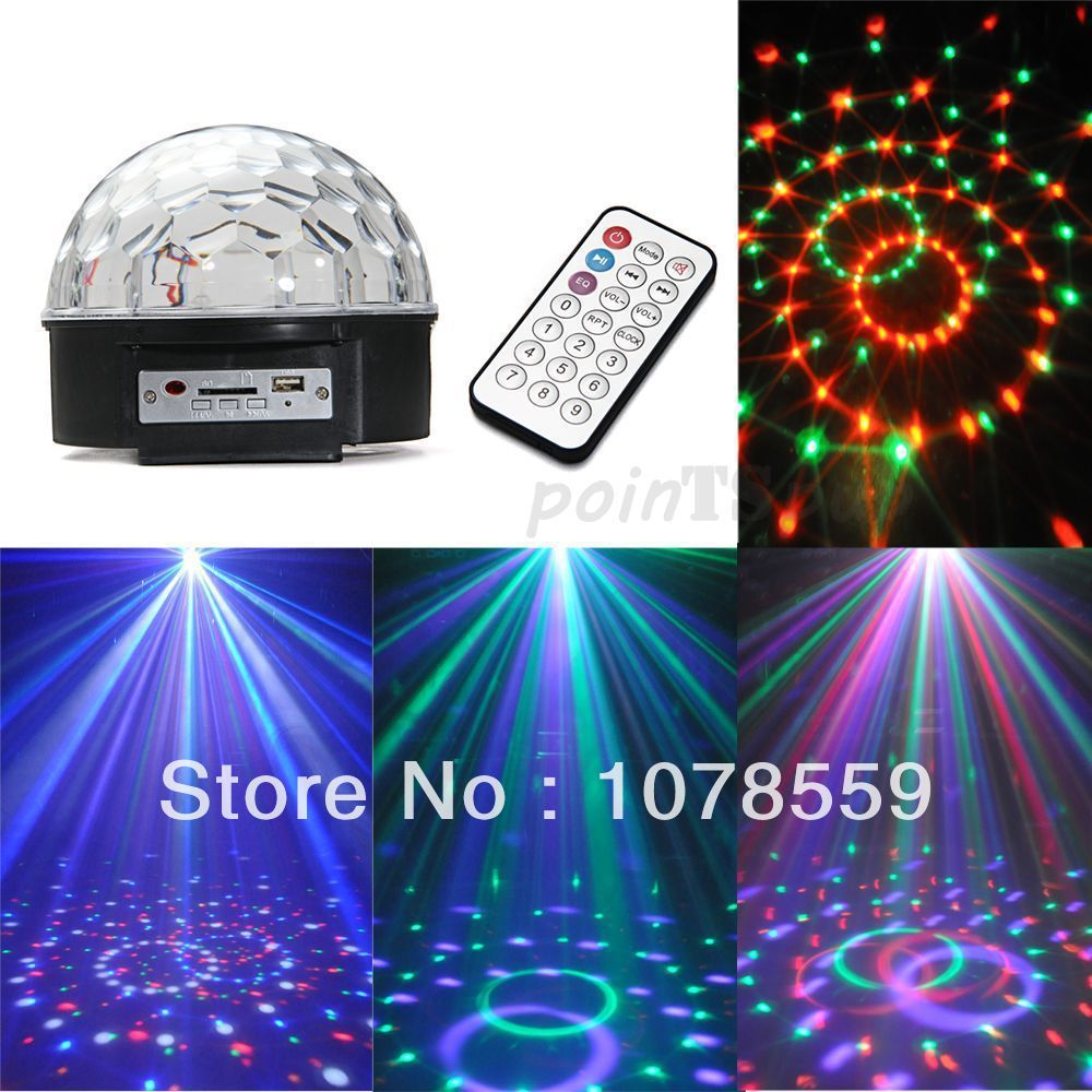 NEW LED Stage Lighting 12W RGB LED MP3 DJ Club Pub Disco Party Crystal Magic Ball Stage Effect Light Free Shipping<br><br>Aliexpress