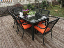 7 pcs Outdoor / Indoor Rattan Garden Dining Sets , Country Style Table Set transport by sea(China)