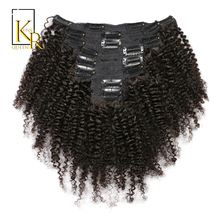Afro Kinky Curly Clip In Human Hair Extensions 100% Brazilian Remy Hair 8 Pieces And 120g/Set Natural Color King Rosa Queen(China)