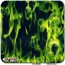 1m*10m TSD135-2 Green Flame Skull Design Hydro Graphics Film Wholesale Hydrographic Film Water Transfer Printing Film