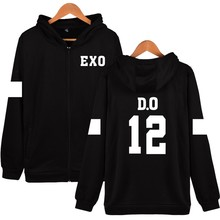New Arrival D.O 12 Design Hoodies Women Hip Hop With Zipper EXO Kpop Black Long Sleeve Womens Winter Jackets And Coats Plus Size