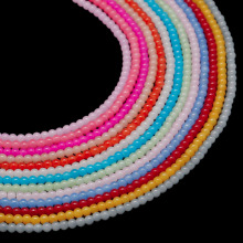 Beadia New Glass Round Painted Red Fuchsia Yellow 4mm 100pcs Loose Spacer Beads For Women Jewelry Making Bracelet Necklace 15.5'
