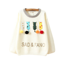 Autumn Winter Milk White Cotton Cartoon Kitty Embroidery Knitting Sweater Women Mori Girl Cute Pompon Letters Sweaters T303