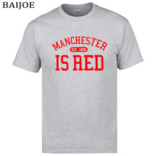 2017 summer United Kingdom Manchester is Red printed men t shirt  plus size 100% cotton high quality top tees hip hop t-shit men
