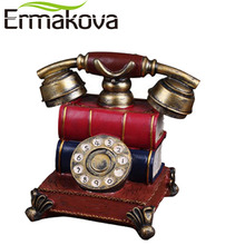 "ERMAKOVA 6.3"" Retro Resin Telephone Figurine Piggy Bank Money Box Coin Bank Saving Pot Rotary Dial Phone Coffee Shop Statue(China)"