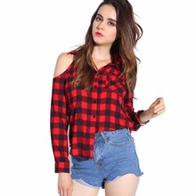 Plaid Blouse Off Shoulder Women Sexy Top Checkered Shirts Red Plaid Chemise Femme Long Sleeve Ladies Tops Casual Shirt Women