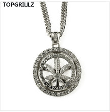 TOPGRILLZ The New Trend Foster Hip Hop Rotation Linen Set Auger Sautoirn Maple Leaf Pendant Necklace for Men(China)