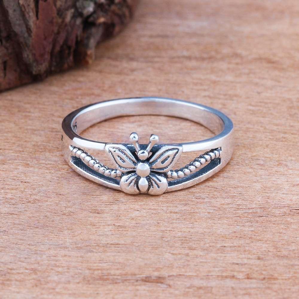 خاتم فضة بفراشة صغيرة 4