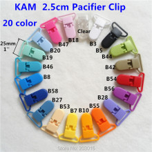 "(20 color ) 20pcs 1"" 25mm D shape Kam Plastic Baby Pacifier Soother MAM Dummy Adapter Holder Chain Clips Suspender Clips"