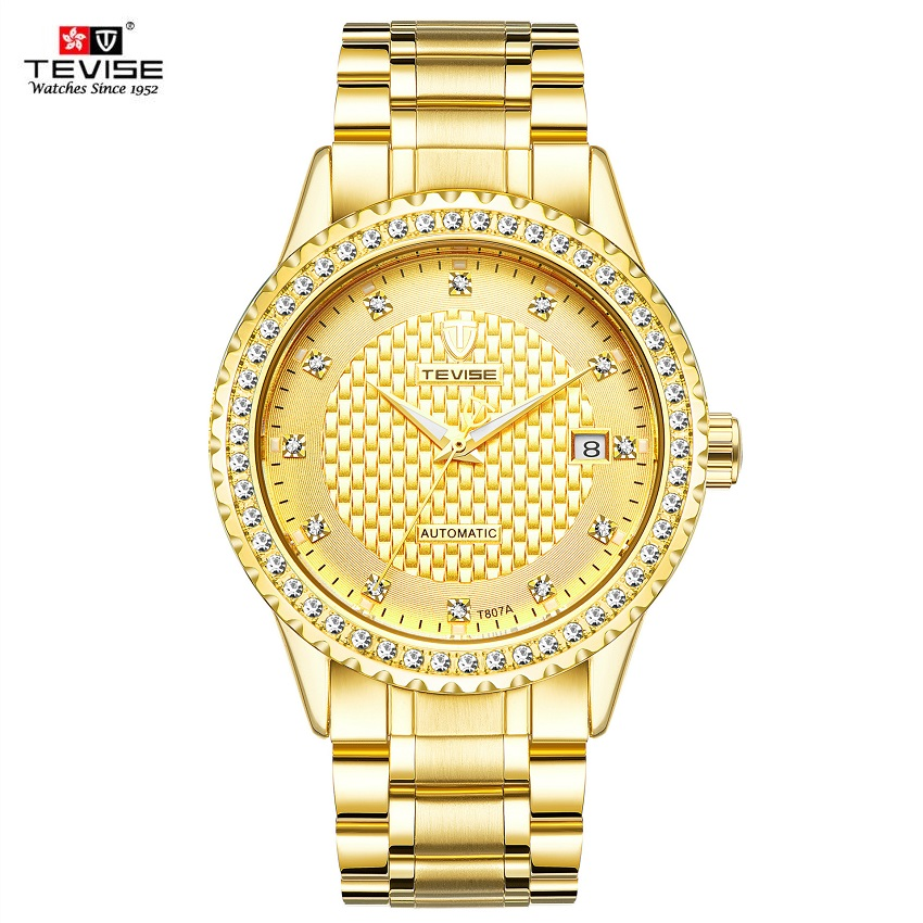 TEVISE Full Gold Clock Men Automatic Watch Luminous Sapphire Stainless Steel Watchband Date Luxury Men Watch Fashion New  2017<br>