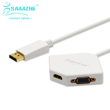 SAMZHE Rhombic Box DP Adapter change to VGA/DVI/HDMI Port White DP Cable with Gold-plated Splitter Apple in Projector TV shows