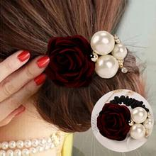 1Pc Women Lady Fashion Satin Ribbon Rose Flower Pearls Hairband Ponytail Holder Hair Band Hairpin