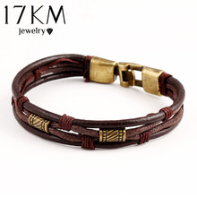 17KM Genuine Leather Women Man Bracelets Unisex Casual/Sporty Multi-Layer Alloy Hook Link Chain Christmas Holiday Bracelet