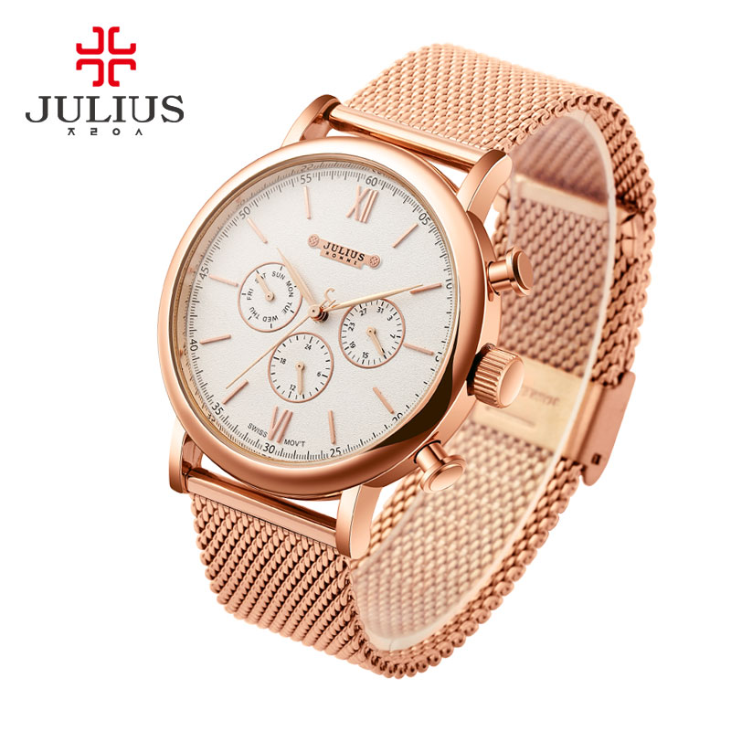 JULIUS Quartz Watch Luxury Fashion Men JULIUS Waterproof Resistant Bayan Kol Saati Fashion Casual Week Calendar Stainless Steel<br>