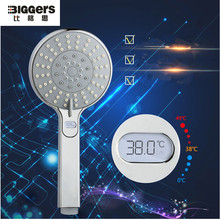 Free shipping Europe quality LED temperature display function handheld chrome finish bathroom shower head nozzle H07015(China)