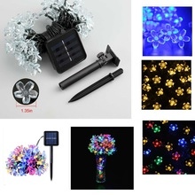 7M 50 LEDS Flower Solar Light Sakura String Solar Powered LED String Fairy Light Garland Garden Christmas Decor Lighting