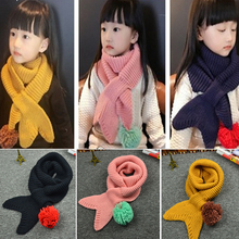 120cm Fish Tail Shape New Winter Warm Girl Kids Children Scarf Shawl Knitted Collar Neckerchief Scarves Pashmina Baby Scarf